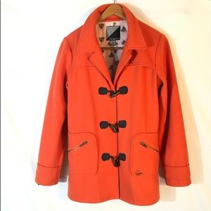 VOLCOM Wool Blend Orange Peacoat Size Small